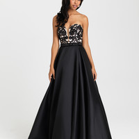 Madison James 16-326 Lace Applique Satin Ballgown Prom Dress