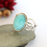 Angel Sky Blue Twist Ring/ Peaceful Amazonite Ring/ Cocktail Ring/ Silver Ring/ Blue Gemstone Ring