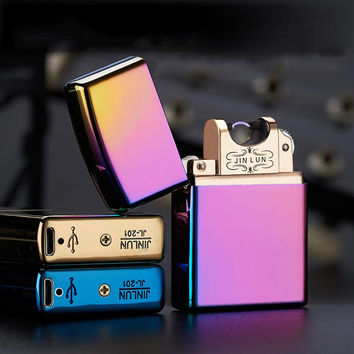 Novelty Electronic Cigarette Lighter Usb Rechargeable Windproof Pocket Double Pulse Arc ultra-thin Metal Flameless Lighters Gift