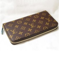 LV Louis Vuitton Fashion Classic Check Monogram Leather Couple Leisure Wallet Purse