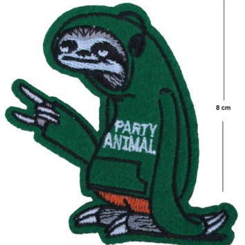 Party Animal Sloth Iron / Sew On Embroidered Patch Badge Embroidery motif | eBay