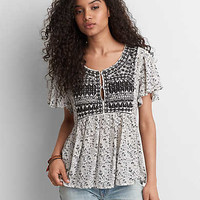 AEO Embroidered Swing Shirt, White