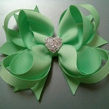 NEW!!! Mint Green Stacked Boutique Hair Bow with Sparkly Heart