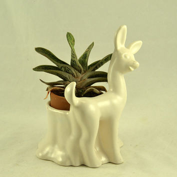 Succulent Pottery Planter Deer Figural - Vintage MCM  Art Deco - Matte White Home Decor