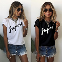 Women's Fashion Summer Short Sleeve Alphabet T-shirts [11061046159]