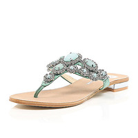 River Island Womens Green gem and stone embellished sandals