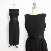Vintage 1960s Dress - Black Crepe Satin Full Length Fitted Gown - Small S