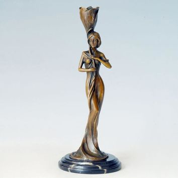 Woman of Valor Bronze Sculpture Candle Holder