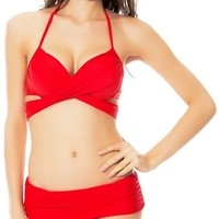 Push Up Convertible Multi Style Wrap Bandage Halter Bikini Set XL Bright Red