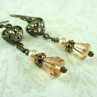 Vintage Inspired Earrings, Peach Glass and Pearls, Filigree Antique Brass