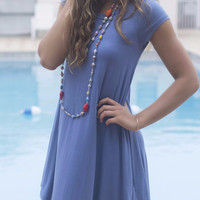 Secret Getaway Moon Blue T-Shirt Dress