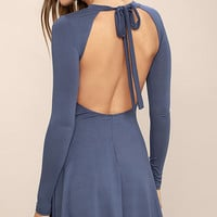 Downright Dreamy Slate Blue Backless Dress