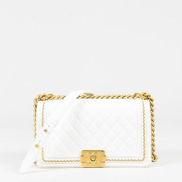 """Chanel White Quilted Lambskin Leather """"Medium Boy"""" Gold Tone Shoulder Bag"""