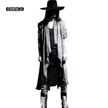 Mens Vintage Long Sleeve Linen Thin Shawl Cardigan Coat Fashion Casual Male Pull Style Punk Gothic Trench long jacket Outerwear