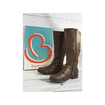 BareTraps Brown Tall Shaft Boots with Buckle Detail, Size 8.5M