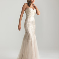 Gold Sequined Tulle Strapless Sweetheart Prom Gown - Unique Vintage - Cocktail, Pinup, Holiday & Prom Dresses.