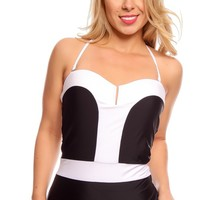 BLACK WHITE HALTER ONE PIECE SWIMSUIT