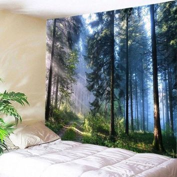 (130*150/150*210) Tapestry Art Forest Print Tapestry Wall Hanging Tapestry Home Room Bedspread Decoration Bedspread