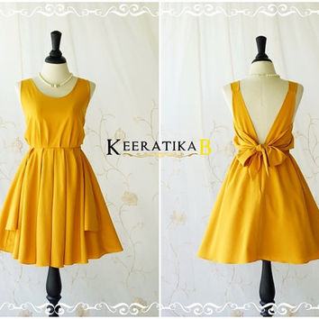 A Party V Charming Dress Cocktail Dress Dark Mustard Backless Dress Prom Party Dress Hot Mustard Wedding Bridesmaid Dress  XS-XL Custom