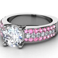 Engagement Ring - Trio Pave Pink sapphire & Diamonds Engagement ring in 14K White Gold - ES1099