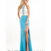 Rachel Allan 7214 White & Turquoise Beaded Halter Fitted Sexy Dress 2016 Prom Dresses