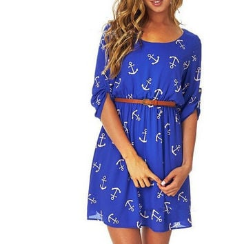 Anchor Print Midi Dress With Belt