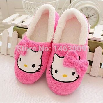 Winter Home Slippers For Women Cartoon Hello Kitty Indoor Shoes Warm House Shoes Plush
