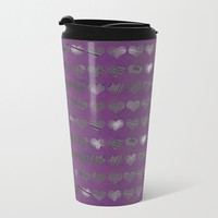 Purple Newspaper Heart Travel Mug Metal - Coffee Travel Mug - Hot or Cold Travel Mug - 15oz Mug - Stainless Steel - Made to Order