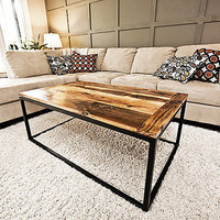 Reclaimed wood coffee table with steel base by NaCoilleStudio