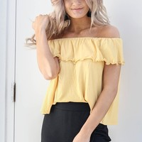 Just Smitten Mustard Ruffle Top