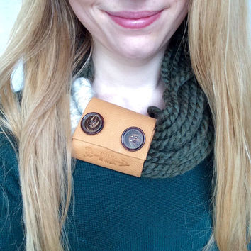 Upcycled Extra Wide Tan Leather 2 Brown Button Embellished Scarf Cuff