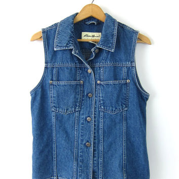 90s Sleeveless Jean Top Denim Collared Button Up Tank Top Vintage Dark Blue 1990s Eddie Bauer Preppy Summer Shirt Vest Women's Medium