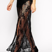 Black Floral Lace Sheer Maxi Skirt with Long Slit