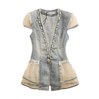 Vintage Denim Vest with Chiffon Hollow Out, Pearls, and Lace