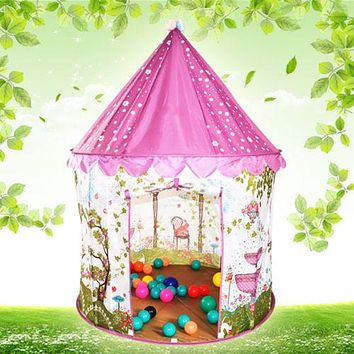 kids tent Cute puzzle game ball thick bottomed spice teepee tent with 100 balls