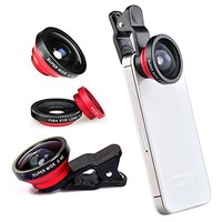 Red Universal Clip-on 180 degree 3 in 1 Fisheye+Wide Angle+Macro Camera Lens Kit for iPhone 5 5S 4 4S 6 Samsung Galaxy S5/S4/S3 Note 4/3/2 HTC Blackberry Bold Touch, Sony Xperia, Motorola Droid