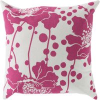 Spotted Floral Ivory & Hot Pink Pillow design by Florence Broadhurst