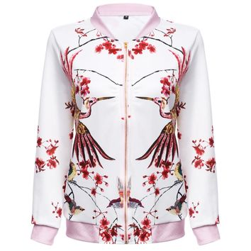 Vintage Style Stand Collar Allover Print Baseball Jacket for Women