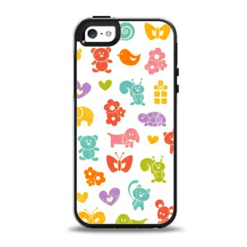 The Furry Fun-Colored Critters Pattern Apple iPhone 5-5s Otterbox Symmetry Case Skin Set