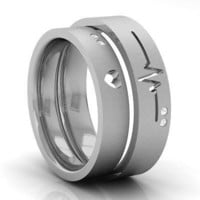 AMAZING HIS AND HER LOVE 925 GREY STERLING SILVER ENAGAGMENT AND WEDDING BAND