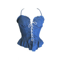 Denim Laced Peplum Halter Top Size Small