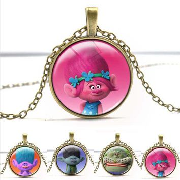 Cute Fairy Trolls Glass Necklace Silver/Bronze Jewlery Chain Long Cartoon Jewelry Best Christmas Gift For Child