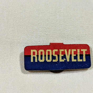 Roosevelt Lapel Pin Franklin Delano Roosevelt President FDR Election Campaign Metal FoldOver Tab Pin Pendant Red White Blue USA Vote America