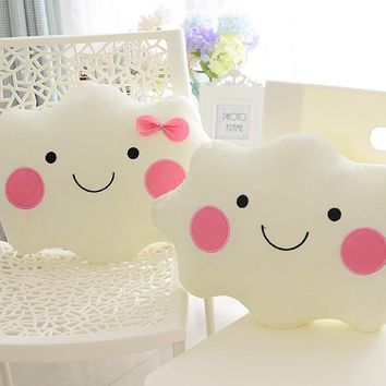 Home Room Decorative Pillows Simple Cute Cloud Emoji Cushion Fleece Bow Pillows Sleep Toys Stuffed Plush Dolls Gifts For Kids