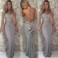 Summer Women Boho Striped Long Maxi Evening Party Dress Beach Dresses Sundress
