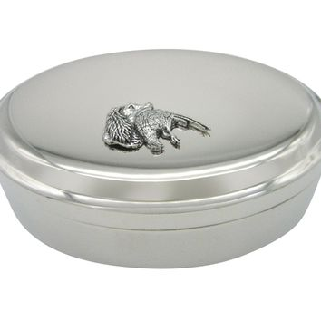 Spaniel Dog Head with Pheasant Bird Pendant Oval Trinket Jewelry Box