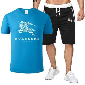 Burberry New fashion letter war horse print top and shorts two piece suit men Blue