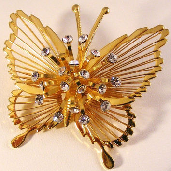 Vintage MONET BUTTERFLY Rhinestone Brooch Pin Signed Gold Tone Insect Naturalist  Jewelry