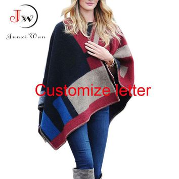 Women Cardigan Fashion Olivia Palermo Wool Poncho Runway Street Snap Knitted Cardigans Plaid Cape Shawl Coat WC0320