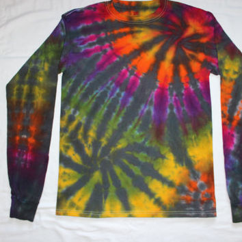 """Tie Dye Rainbow """"Touch of Grey"""" Double Spiral Long Sleeve T Shirt Size Small"""